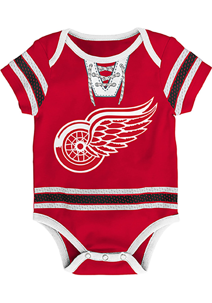 Detroit Red Wings Baby Red Cherry Picking Short Sleeve One Piece - Image 1