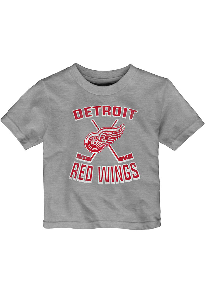 Detroit Red Wings Infant Double Crossed Short Sleeve T-Shirt Grey - Image 1