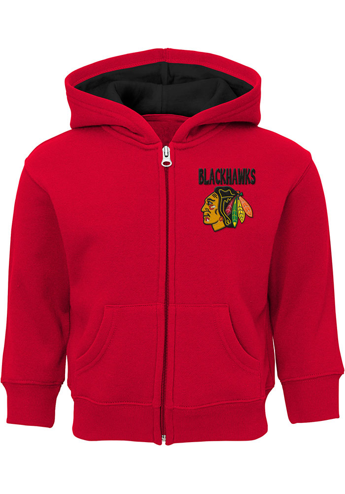 Chicago Blackhawks Toddler Enforcer Long Sleeve Full Zip Sweatshirt - Red - Image 1