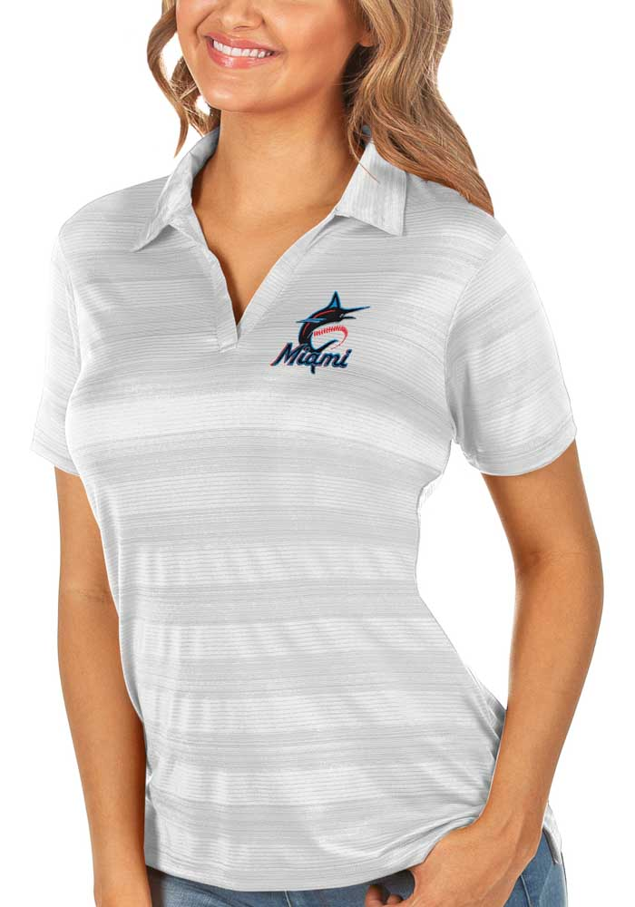 Antigua Miami Marlins Womens White Compass Short Sleeve Polo Shirt - Image 1