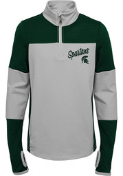 Michigan State Spartans Girls Green Frequency LS Tops 1/4 Zip