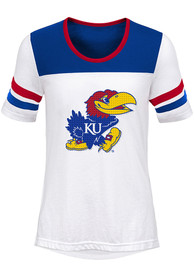 Kansas Jayhawks Girls White Tailback Fashion T-Shirt