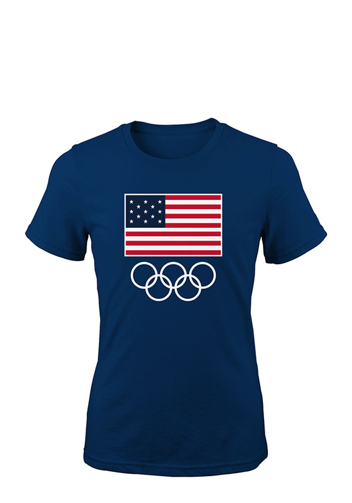 Team USA Womens Navy Blue Flags and Rings Short Sleeve T Shirt - Image 1