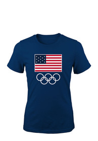 Team USA Womens Navy Blue Flags and Rings Short Sleeve T Shirt