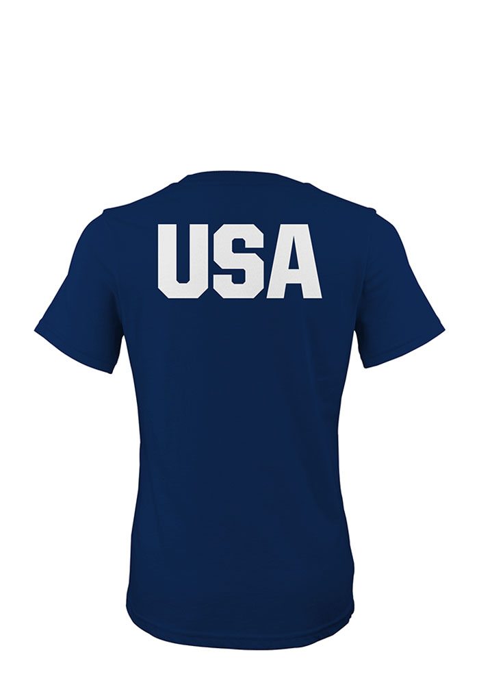 Team USA Womens Navy Blue Flags and Rings Short Sleeve T-Shirt - Image 2