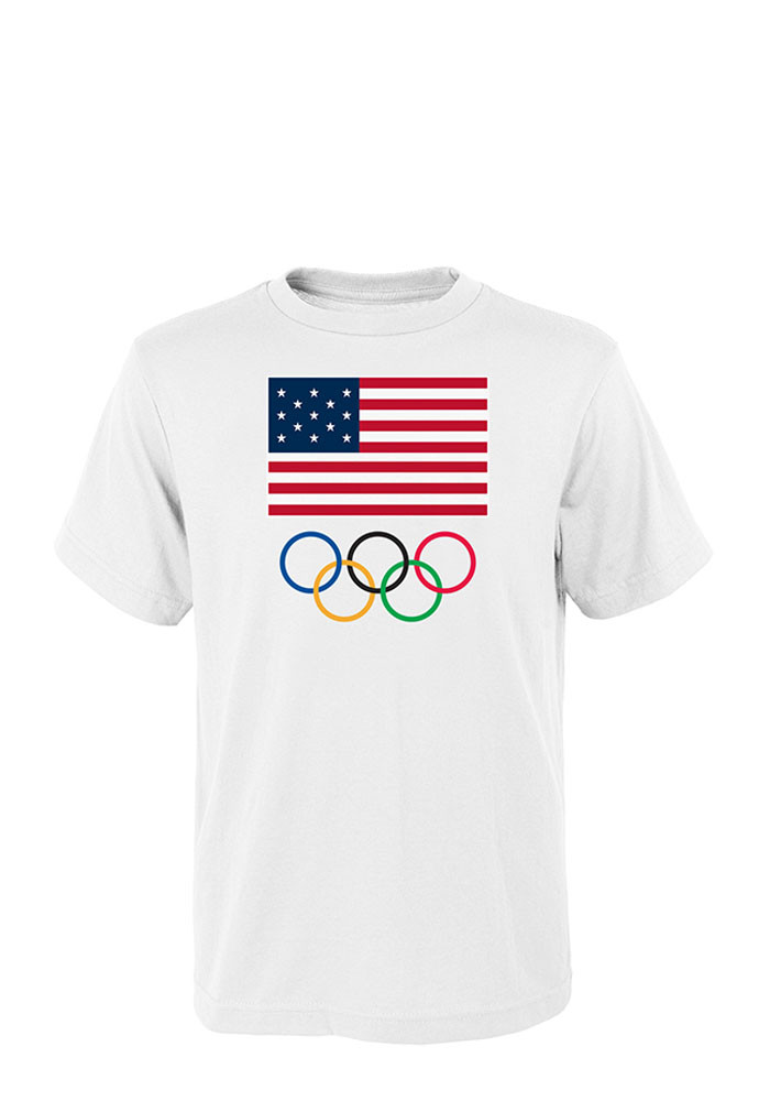 USA Flag and Olympic Rings Short Sleeve Mens T-Shirt - Image 1