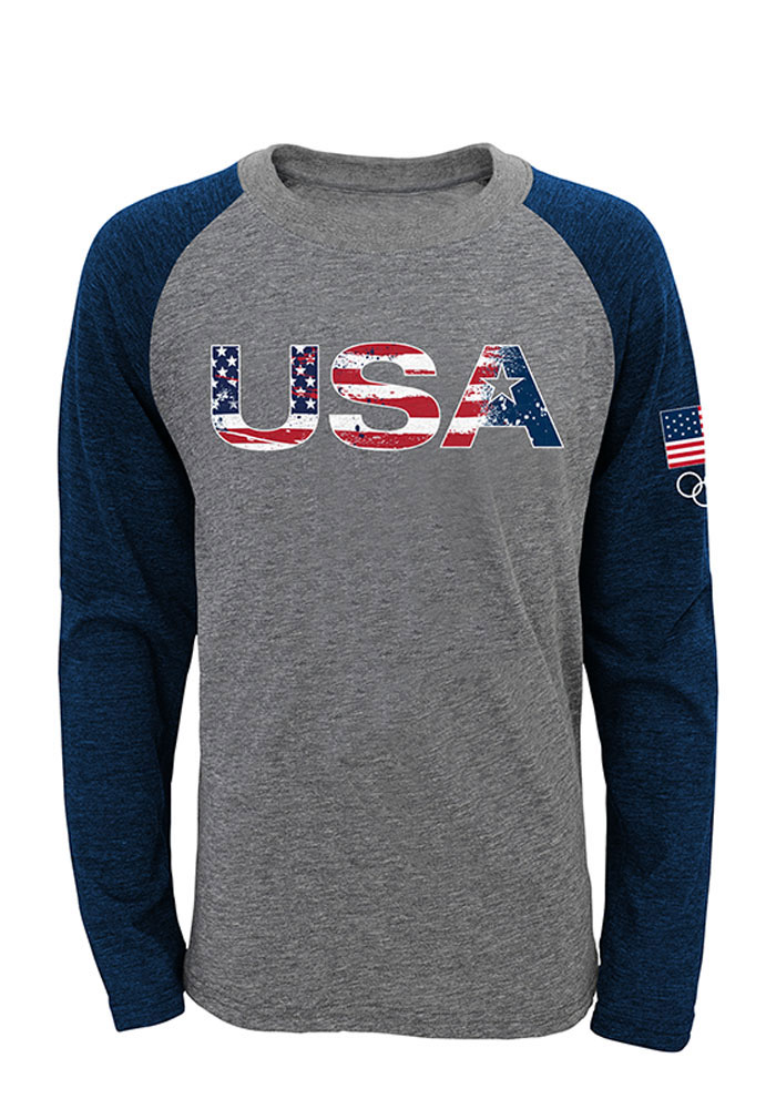 Team USA Olympics Flag Raglan ¾ Sleeve T Shirt - Image 1