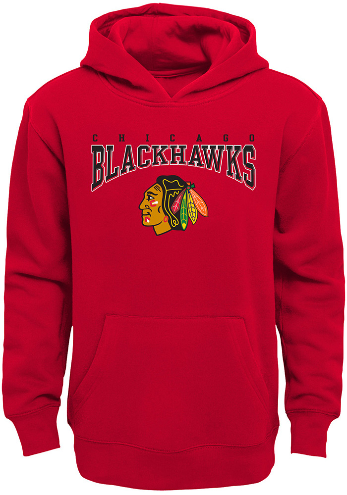 Chicago Blackhawks Youth Red Fadeout Long Sleeve Hoodie - Image 1