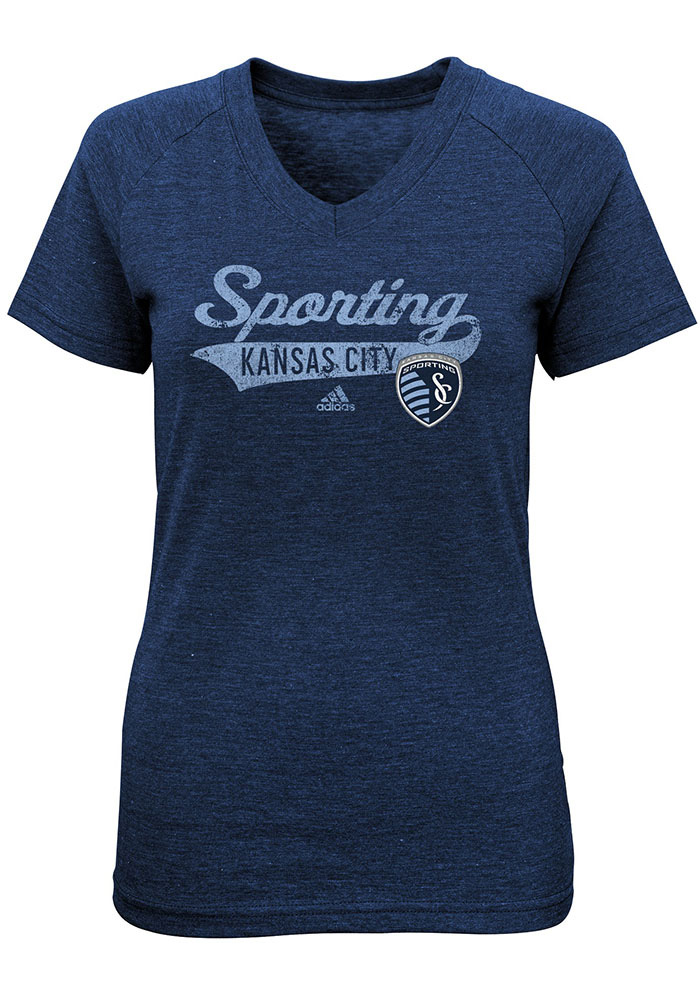 Sporting Kansas City Girls Navy Blue Tail Stack Short Sleeve Fashion T-Shirt - Image 1