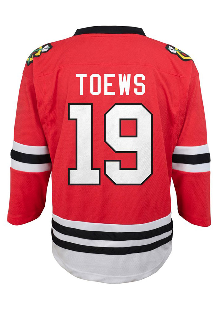 Jonathan Toews Outer Stuff Chicago Blackhawks Youth Red Replica Hockey Jersey - Image 1