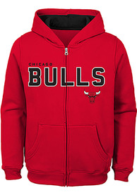 Chicago Bulls Boys Foundation Full Zip Hooded Sweatshirt - Red