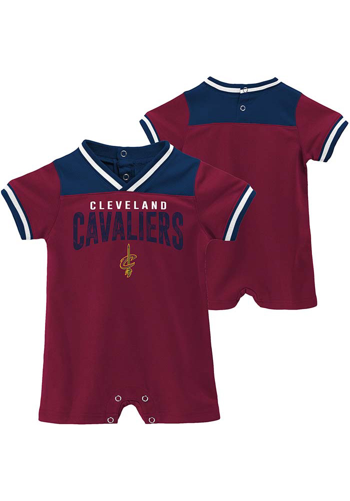 check out b8b29 28405 Cleveland Cavaliers Baby Red Fan-atic Basketball Short Sleeve One Piece