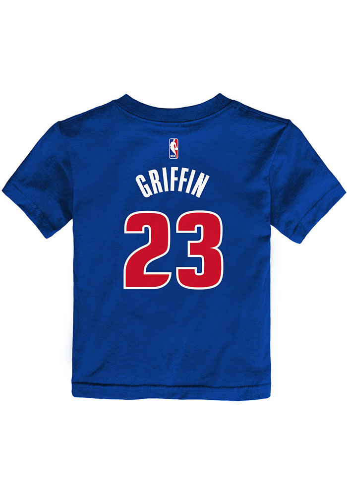 best authentic fc484 cf2e3 Blake Griffin Detroit Pistons Toddler Blue Name & Number Short Sleeve  Player T Shirt