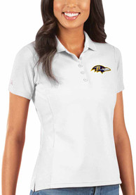 Baltimore Ravens Womens Antigua Legacy Pique Polo Shirt - White
