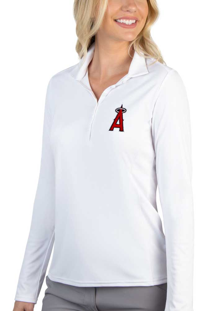 Antigua Los Angeles Angels Womens White Tribute Long Sleeve Polo Shirt - Image 1