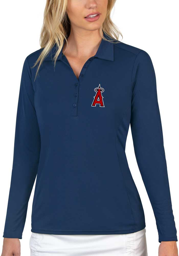 Antigua Los Angeles Angels Womens Navy Blue Tribute Long Sleeve Polo Shirt - Image 1
