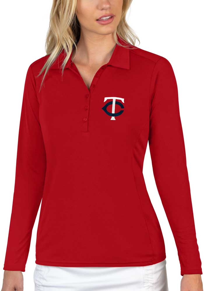 Antigua Minnesota Twins Womens Red Tribute Long Sleeve Polo Shirt - Image 1