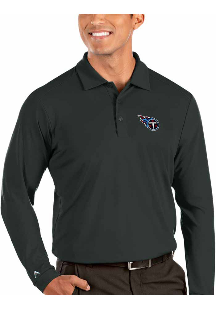 Antigua Tennessee Titans Mens Grey Tribute Long Sleeve Polo Shirt - Image 1