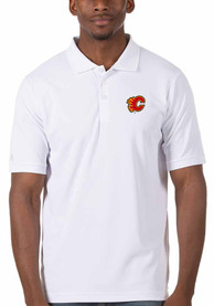 Calgary Flames Antigua Legacy Pique Polo Shirt - White