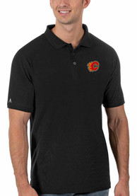 Calgary Flames Antigua Legacy Pique Polo Shirt - Black