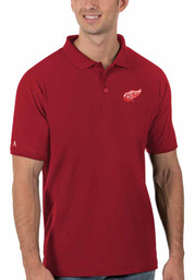 Antigua Detroit Red Wings Mens Red Legacy Pique Short Sleeve Polo