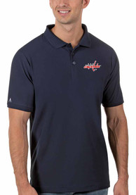 Washington Capitals Antigua Legacy Pique Polo Shirt - Navy Blue