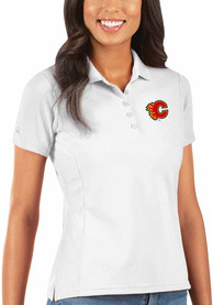 Calgary Flames Womens Antigua Legacy Pique Polo Shirt - White