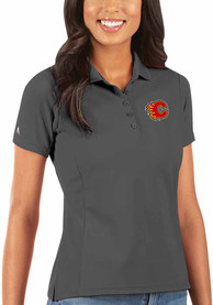 Calgary Flames Womens Antigua Legacy Pique Polo Shirt - Grey