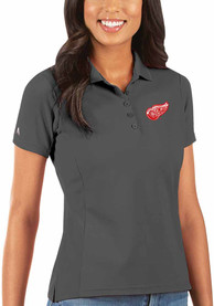 Detroit Red Wings Womens Antigua Legacy Pique Polo Shirt - Grey