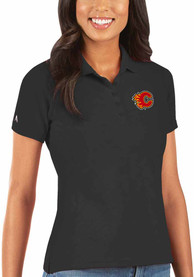 Calgary Flames Womens Antigua Legacy Pique Polo Shirt - Black