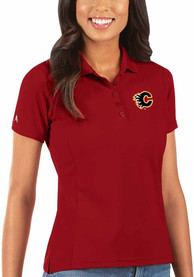 Calgary Flames Womens Antigua Legacy Pique Polo Shirt - Red
