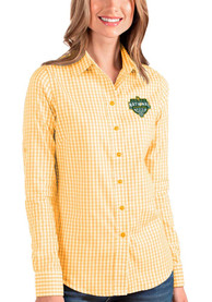 Baylor Bears Womens Antigua 2021 National Champion Structure Dress Shirt - Gold