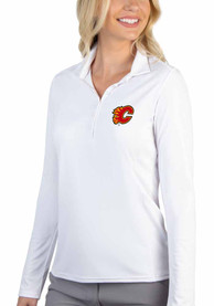 Calgary Flames Womens Antigua Tribute Polo Shirt - White