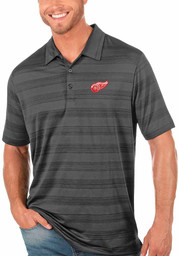 Antigua Detroit Red Wings Mens Grey Compass Short Sleeve Polo