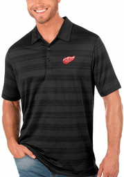 Antigua Detroit Red Wings Mens Black Compass Short Sleeve Polo
