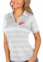 Antigua Detroit Red Wings Womens White Compass Short Sleeve Polo Shirt