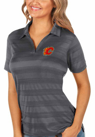 Calgary Flames Womens Antigua Compass Polo Shirt - Grey