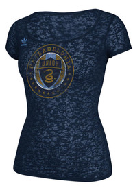 Adidas Philadelphia Union Womens Supersize Fan Burnout Navy Blue Scoop T-Shirt