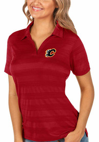 Calgary Flames Womens Antigua Compass Polo Shirt - Red