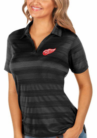 Detroit Red Wings Womens Antigua Compass Polo Shirt - Black