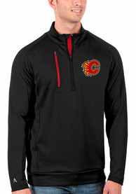 Calgary Flames Antigua Generation 1/4 Zip Pullover - Black