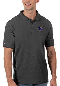 Washington Huskies Antigua Legacy Pique Polo Shirt - Grey