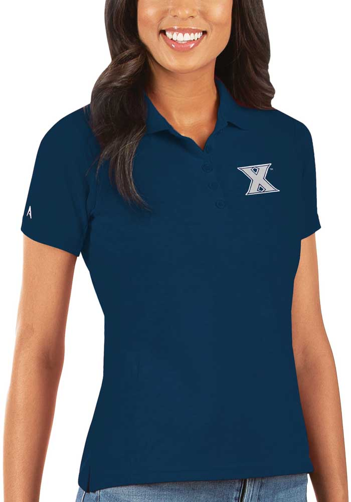 Antigua Xavier Musketeers Womens Navy Blue Legacy Pique Short Sleeve Polo Shirt - Image 1