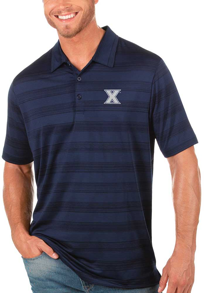 Antigua Xavier Musketeers Mens Navy Blue Compass Short Sleeve Polo - Image 1