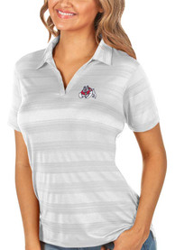 Fresno State Bulldogs Womens Antigua Compass Polo Shirt - White