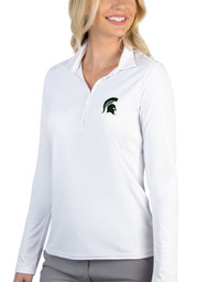 Antigua Michigan State Spartans Womens White Tribute Long Sleeve Polo Shirt
