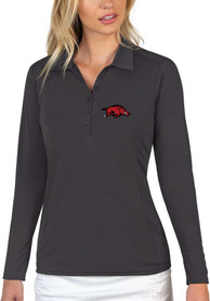 Arkansas Razorbacks Womens Antigua Tribute Polo Shirt - Grey