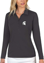 Antigua Michigan State Spartans Womens Grey Tribute Long Sleeve Polo Shirt