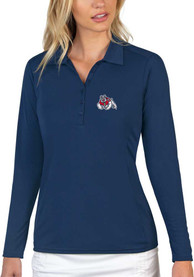 Fresno State Bulldogs Womens Antigua Tribute Polo Shirt - Navy Blue