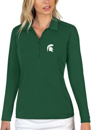 Antigua Michigan State Spartans Womens Green Tribute Long Sleeve Polo Shirt